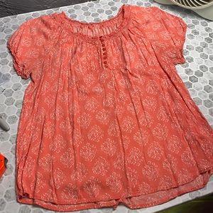 Pink Floral Short Sleeve Large Blouse
